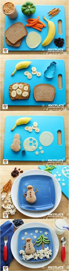 How to make an Edible MyPlate Snowman - a super fun and healthy idea for the holiday - have the kids make it as a fun holiday craft Healthy Meals For Kids, Kids Meals, Healthy Snacks, Cute Food, Good Food, Bento Recipes, Toddler Meals, Winter Food, Gastronomia