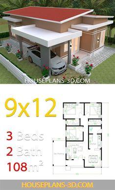 Little House Plans, 3d House Plans, Model House Plan, House Layout Plans, House Blueprints, Small House Plans, Home Building Design, Home Design Plans, Simple House Design