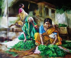 K N Ramachandrans Life of Color Paintings and Art Gallery Market Watercolor Paintings For Beginners, Watercolor Artwork, Watercolour, Realistic Paintings, Watercolor Portraits, Nature Drawing, Composition Drawing, Pakistan Art, Indian Drawing