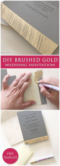 DIY brushed gold wedding invitation. Learn how to easily create a faux foil look. The clean lines of the metallic accent make this modern invitation so chic, and the invitation template is a FREE download! #weddinginvitation