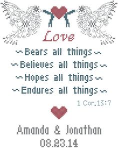 Love Bears All Things Cross Stitch Pattern/1 Corinthians 13:7 Cross Stitch Pattern/Dove Cross Stitch Pattern/Religious Wedding Cross Stitch by oneofakindbabydesign on Etsy