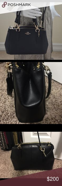 """Coach """"Christie"""" Purse Coach Black Christie Carryall Pebbled Leather Purse - small/Medium sized- 15"""" wide, 9"""" tall. 9.5"""" from strap to opening of bag. I purchased this in August. Just don't care much for it. Sells for $350 still at coach stores. Just saw it on eBay for $470(CRAZY!). Has a short & long strap!  Selling from a pet/smoke free home.  Such a steal! If you want the wallet too I'll sell together. Coach Bags Crossbody Bags"""