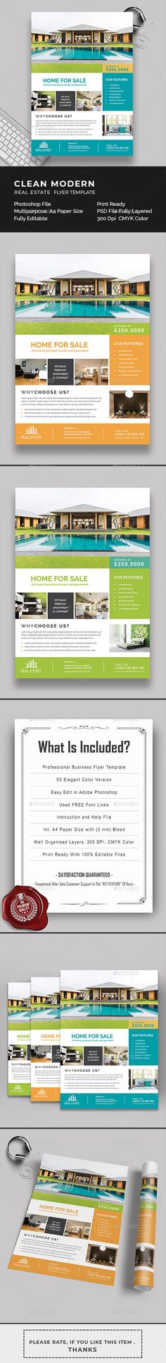 Clean, Elegant & Modern Real Estate & Property Flyer Template An elegant and highly versatile real e Real Estate Icons, Real Estate Flyers, Real Estate Logo, Real Estate Templates, Real Estate Flyer Template, Magazine Advert, Finance Blog, Text Features, Property Development