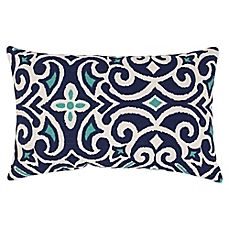 image of New Damask Reversible Oblong Throw Pillow in Marine