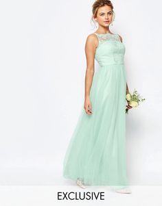 Chi Chi London Bardot Neck Sleeveless Maxi Dress with Premium Lace and Tulle Skirt green bridesmaid dress