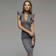 977f2cd771832 Spring Summer Sleeveless Ruffle Bodycon Women Deep V-Neck Party Dress  Nightclub Dress