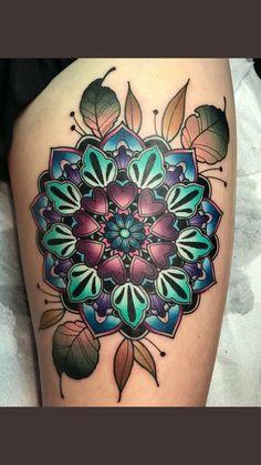 Flower Mandala Tattoo, Colorful Mandala Tattoo, Mandala Tattoo Shoulder, Mandala Tattoo Design, Flower Tattoos, Tattoo Designs, Shoulder Tattoos, Funky Tattoos, Trendy Tattoos