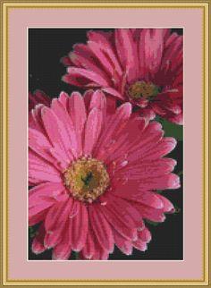 Gerbera Pink Daisy Cross Stitch Pattern