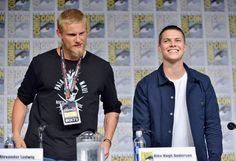 """Actors Alexander Ludwig (L) and Alex Hogh Andersen attend the """"Vikings"""" panel during San Diego Comic-Con International 2017 at San Diego Convention Center on July 21, 2017 in San Diego, California."""