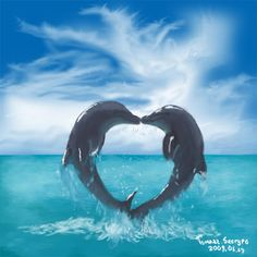 """Dolphin Love!"" (Beautiful Love Dolphin Images.)"