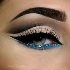Blue Glitter Makeup | Party Makeup | Evening Makeup @JustyHMakeup - perfect cut crease with glitter blue | http://pillxprincess.tumblr.com/ | http://amykinz97.tumblr.com/ | https://instagram.com/amykinz97/ | http://super-duper-cutie.tumblr.com/