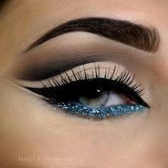 Blue Glitter Makeup | Party Makeup | Evening Makeup   @JustyHMakeup - perfect cut crease with glitter blue | http://pillxprincess.tumblr.com/ | http://amykinz97.tumblr.com/  | https://instagram.com/amykinz97/  | http://super-duper-cutie.tumblr.com/                                                                                                                                                                                 More