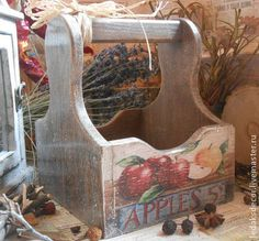 Короб для кухни Яблочное кантри - короб для кухни,короб для хранения,короб для специй