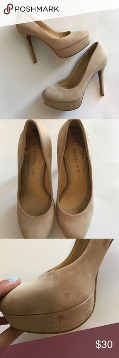 Gianni Bini Suede Heels Gianni Bini Suede Heels. Overall excellent condition. No scuffs on soles. Minor spot on the bottom of the shoe but can't be noticed unless you're looking for it. Gianni Bini Shoes Heels