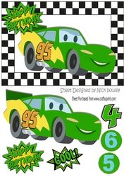 Toony green racing car in check frame A5 on Craftsuprint - View Now!