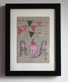 Afternoon Tea - framed freestyle machine embroi... - Folksy