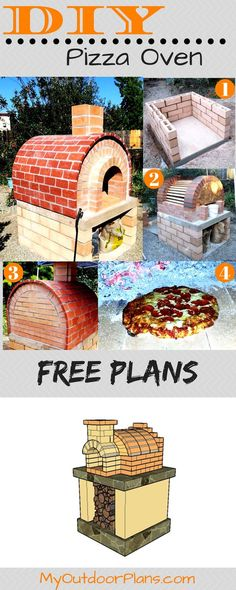 Free plans for a brick outdoor pizza oven. I have designed this backyard pizza oven so you can build a beautiful and durable pizza oven. This oven would be great for outdoor parties. Full plans at: MyOutdoorPlans.com #pizza #diy