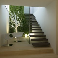 Loft in Calonge, Girona by Susanna Cots Estudi de Disseny. Stairs from garage to upper floor Interior Stairs, Interior Architecture, Interior And Exterior, Style At Home, Interior Decorating, Interior Design, Staircase Design, House Rooms, Furniture Design