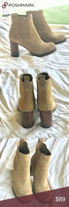 Tory Burch suede booties My favorite boots I've held onto dearly is now ready to be passed on to the next buyer whole love it as much as I did. Extremely comfortable, classy, sleek, and in great condition other than minor dirt stain you can wipe down with wet cloth. Color is Taupe/tan Tory Burch Shoes Ankle Boots & Booties