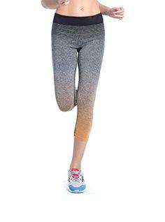 00bfcd33d7411 Women s Premium Ombre Active Workout Cropped Yoga Leggings Running Pants  Blue Medium