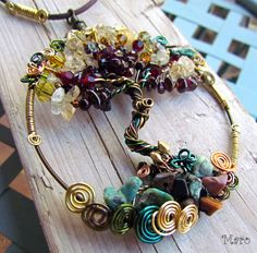 colored wire, scrolls, mixed stone chips