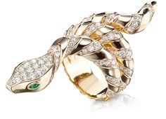 Divine Serpent Scaled Ring in 18K rose gold with diamonds and emeralds - Divine Serpent - Tabbah Jewelry