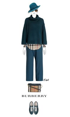 """""""Casual outfit: Petrol - Beige"""" by downtownblues ❤ liked on Polyvore featuring Burberry and Lanvin"""
