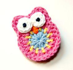 Baby Hair Clip - Crochet Hair Clip - Toddler Hair Clip  - NEW Pink, Yellow, and Blue Crochet Owl Hair Clip. $7.00, via Etsy.