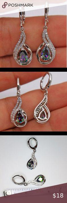 Tear Stud Earrings with Rainbow Topaz CZ Sterling Silver 925 Elegant Jewelry