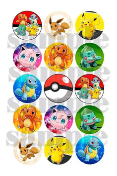"Pokemon Inspired 1"" Bottlecap Images ~ Instant Download 4"" x 6"" 300dpi jpeg Image  ~ for bottle cap crafts"