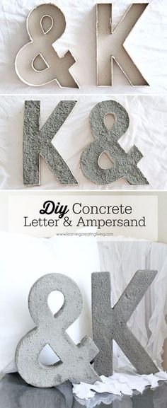 DIY Wall Letters and Word Signs - DIY Concrete Letter And Ampersand - Initials Wall Art for Creative Home Decor Ideas - Cool Architectural Letter Projects and Wall Art Tutorials for Living Room Decor, Bedroom Ideas. Girl or Boy Nursery. Paint, Glitter, String Art, Easy Cardboard and Rustic Wooden Ideas - DIY Projects and Crafts by DIY JOY http://diyjoy.com/diy-letter-word-signs