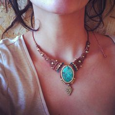Macrame Necklace Made by order MAGICAL chrysocolla tribal  with Magical brass beads TRIBAL jewelry bohemian necklace gipsy jewelry