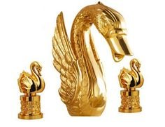 $807.50 | Buy Free shipping gold finish 3 Pcs ROMAN lavatory sink faucet with swan handles widespread little swan from Reliable faucet mixer suppliers on Classic Faucet Store