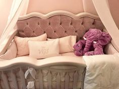 Cleopatra crib in Solid White with Pink Velvet tufted headboard Teen Headboard, Plywood Headboard, White Headboard, King Headboard, Tufted Crib, Velvet Tufted Headboard, Baby Crib Designs, Make Your Own Headboard, Unique Headboards