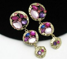 Vibrant PARKLANE Multi Color CZ Rhinestone Dangle Post Earrings