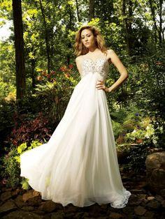Chiffon Sweetheart Embroidered Bodice Column Wedding Dress