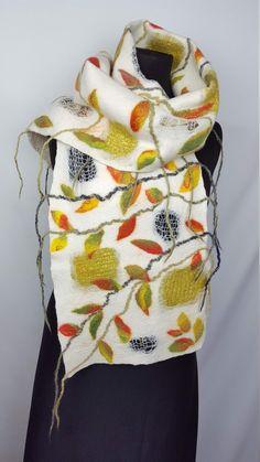 Big long very warm winter scarf with leaves, handmade and unique nuno felt silk wool shawl, gift idea for Thanksgiving day Nuno Felt Scarf, Handmade Scarves, Silk Wool, Nuno Felting, Wool Felt, Warm, Elegant, Winter, Unique
