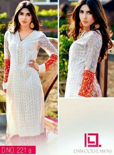 Awesome And Latest Summer Wear Long Kurtis Collection 2014 For Girls By Dawood Textiles Vol 2   7pm Dress