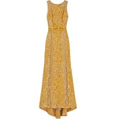 ELIE SAAB Lace Panel Sequin Gown (108.747.920 IDR) ❤ liked on Polyvore featuring dresses, gowns, vestidos, elie saab, long dresses, gold dress, sequin evening gowns, beige long dress, gold gown and sequin dresses