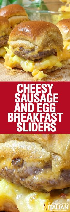 Cheesy Sausage and Egg Breakfast Sliders are a fully loaded perfectly portable hand held breakfast. All of your favorite breakfast fixin's come together with the most amazing and unexpected glaze to c