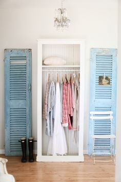 "I love this shabby chic look. I have tons of these ""extra"" doors around my home, and I see a DIY project in my near future"