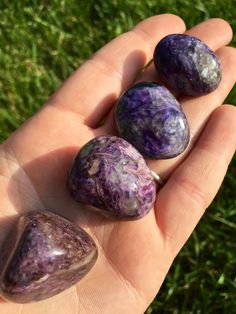 """Charoite Tumbled Stone (A-grade) Listing is for (1) tumbled gemstone. Sizing is between 1"""" - 1.25"""". These are STOCK PHOTOS. Because they are natural stones, will vary in size and characteristics. ( if"""