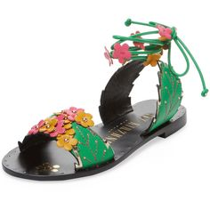 Ivy Kirzhner Women's Gardenia Leather Sandal - Green, Size 10 ($200) ❤ liked on Polyvore featuring shoes, sandals, green, green heeled sandals, ivy kirzhner sandals, leather sandals, leather heeled sandals and studded sandals