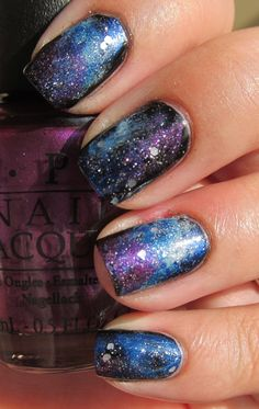 Handtastic Intentions: Nail Art: Galaxy Nails - purple is Suzi & the 7 Dusseldorfs. Glitter is Pirouette my Whistle