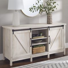 Farmhouse Tv Stand, Modern Farmhouse, Modern Rustic, Farmhouse Decor, Barn Door Tv Stand, Rustic White, Room Accessories, Better Homes And Gardens, Home Decor Items