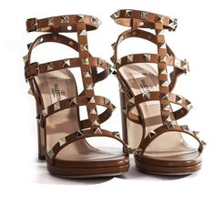 Valentino Garavani Cuir Leather Rockstud Sandals ($802) ❤ liked on Polyvore featuring shoes, sandals, brown, leather high heel shoes, valentino shoes, genuine leather shoes, adjustable strap sandals and leather shoes