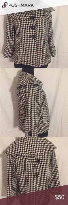 Sanctuary black/white houndstooth coat size M Sanctuary black/white houndstooth coat couture inspired size M. Used. In good condition. Great shape. 100% Authentic. Bought at Nordstrom. (Button is back is loose and middle button in front is restitched in white thread). Red lining. Reasonable offers are welcome Sanctuary Jackets & Coats Pea Coats