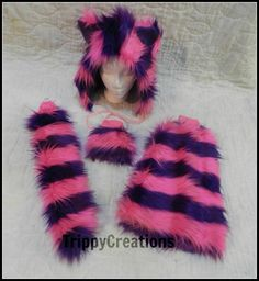 Fluffies pink and purple cheshire cat themed fluffie outfit set. Great for raves, festivals, and gogo dancers. on Etsy, $90.00