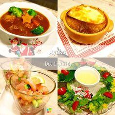 今日は、ちょっとXmasを意識して作ってみました♡ビーフシチュー、時間かかるお料理だけど、やっぱり美味しいね〜 - 151件のもぐもぐ - ビーフシチュー、オニオングラタンスープ、マグロとアボカドときゅうり、リースサラダ by ayako1015