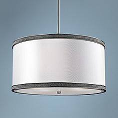 "Feiss Pave 20"" Wide Polished Nickel 3-Light Drum Pendant"